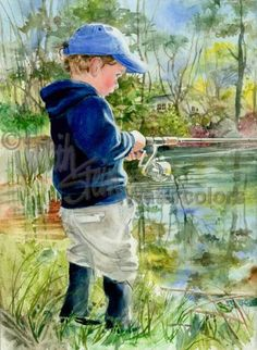 Fisher Boy is an Open Edition Giclee Art featuring a boy whose father lured his son into learning how to fish. Thanks too Daddy, Paul knows all