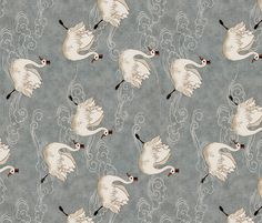 Valentine Swans (in Pewter) fabric by nouveau_bohemian on Spoonflower - custom fabric