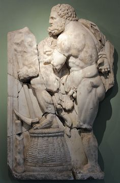 Hercules (Heracles) in the Augean stables, Roman relief (marble), 3rd century AD, (Villa Chiragan, Musée Saint-Raymond, Toulouse).