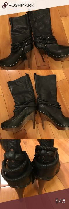 Dolce Vita Boots Nice pair of boots. A lot details. Size 8. Black faux leather. I am selling them for my friend. She can't wear high heels anymore. They are in very good condition. Dolce Vita Shoes Ankle Boots & Booties