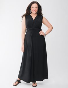 Full Figure Knot Front Maxi Dress by Lane Bryant | Lane Bryant