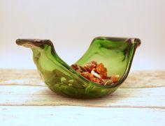 Melted beer bottle dish fused glass mini bowl by UrbanGlassStudio