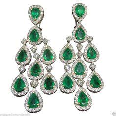 4.58ctw !!! DIAMOND,EMERALD &14k YELLOWGOLD EARRINGS / WORLDWIDE FREE SHIPPING   Jewelry & Watches, Fine Jewelry, Fine Earrings   eBay!