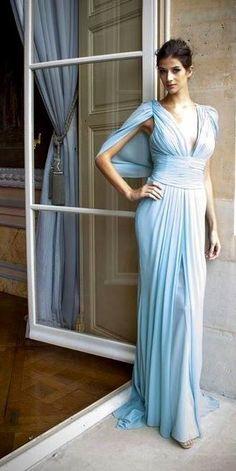 Zuhair Murad | pale blue silk gown | high fashion