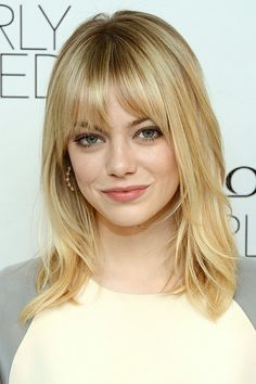 Straight Hairstyles With Bangs Unique 21 Chic Looks For Your Midlength 'do  Straight Hair Emma Stone