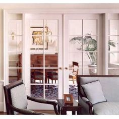 Stationary panel French doors