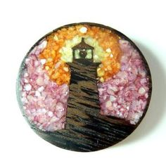 Lighthouse wooden pendant with crushed shell inlay. Unique wooden jewellery, designed and handcrafted in Ontario, Canada. Wooden Jewelry, Ontario, Lighthouse, Nautical, Shell, Wanderlust, Canada, Jewellery, Pendant