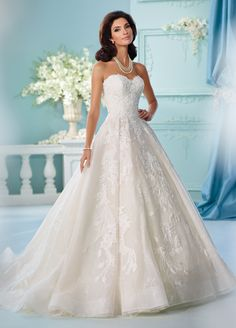 Wedding Dresses / Bridal Gowns - All : David Tutera - Strapless full A-line wedding dress features layers of tulle, organza and allover embroidered lace, sweetheart neckline, bodice and skirt trimmed with Venise lace appliqués, horsehair h Spring 2017 Wedding Dresses, Wedding Dress Trends, Dream Wedding Dresses, Wedding Attire, Bridal Dresses, Wedding Gowns, Tulle Wedding, Prom Dresses, Mermaid Wedding