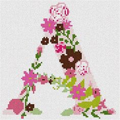 The Letter A Flowering Needlepoint Kit or Canvas Needlepoint Designs, Needlepoint Kits, Needlepoint Canvases, Cross Stitch Letters, Cross Stitch Flowers, Cross Stitch Designs, Stitch Patterns, Colorful Flowers, Cross Stitching