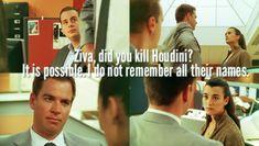 """Ziva, did you kill Houdini?"" - Tony DiNozzo ""It is possible. I do not remember their names."" - Ziva David // NCIS More"