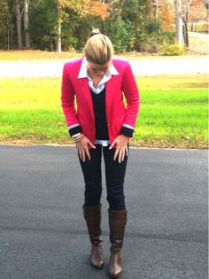 PINK Fall Layers Fashion Life ZARA blazer with Brown boots and jeans