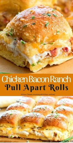 Love how easy these Chicken Bacon Ranch Pull Apart Rolls are to make Perfect for feeding a crowd! Chicken Bacon Ranch Pull A. Think Food, Love Food, Frango Bacon, Cooking Recipes, Healthy Recipes, Finger Food Recipes, Healthy Foods, Food Recipes Snacks, Game Day Recipes