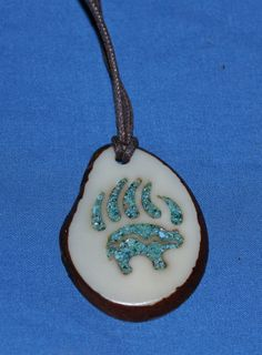Inlaid Bear Totem Tagua Nut Necklace by CarvingRogerWolford, $28.00