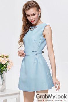 GrabMyLook Vintage Sleeveless Vest Elegant Small Bow A-line Cocktail Skirt Dress Skirt