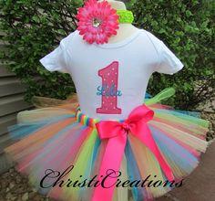 Baby Girl 1st Birthday Tutu Set - Cake Smash Photo Prop - Baby Tutu by ChristiCreations on Etsy https://www.etsy.com/listing/99675988/baby-girl-1st-birthday-tutu-set-cake