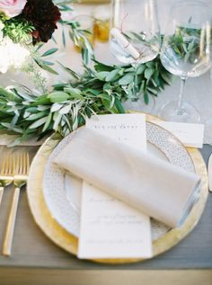 Elegant Malibu table decor with gold accents and pretty florals: http://www.stylemepretty.com/vault/gallery/38307 | Photography: Erich McVey - http://www.erichmcvey.com/