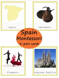 European Country Spain Montessori 3-part Cards Printables