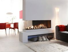 Lareiras - Red Chair With Double Slide Fireplace And Gray Sofa Also White Rug Fu