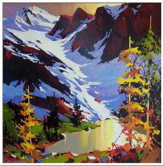 Michael O E Toole www,tuttartpitturasculturapoesiamusica,com () Watercolor Landscape, Landscape Art, Landscape Paintings, Watercolor Paintings, Mountain Paintings, Arte Pop, Canadian Artists, Tree Art, Painting Inspiration