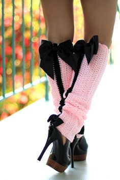 Paris Afternoon Leg Warmers ..Looks easy to crochet...I like them for my baby with a matching crochet hat with a big black bow.