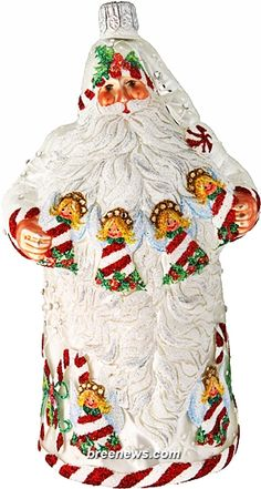 Angelic Santa (Pearl) Patricia Breen Designs (Angels, Candy Canes, Green, Holly, Pearl/white, Peppermint, Red, Snowflakes, Striped)
