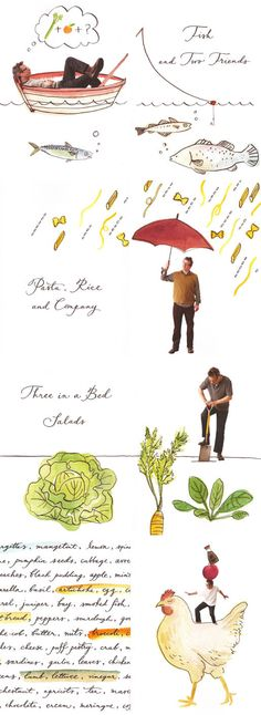 Illustrations for Hugh Fearnley-Whittingstall's 'Hugh's Three Good Things' by Mariko Jesse