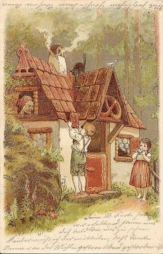 """The Gingerbread House, in the Story,""""Hansel and Gretzel"""". Hansel is breaking off a piece of the roof to eat. The witch looks on. Hansel Y Gretel, Charles Perrault, Brothers Grimm, Vintage Fairies, Grimm Fairy Tales, Fairy Land, Children's Book Illustration, Vintage Postcards, Illustrators"""