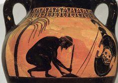"Exekias' ""The Suicide of Ajax."" Ancient Greek black figure terra cotta vase painting, c 540 BCE."