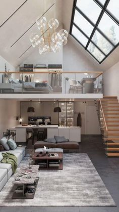 Loft House Design, Tiny House Loft, Home Stairs Design, Home Building Design, Dream House Interior, Apartment Interior Design, Small House Design, Tiny Loft, Living Room Interior