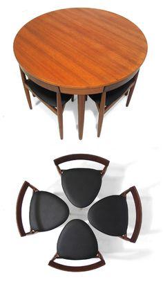 All Tucked In: Hans Olsen's Super Space-Saving Dining Set Space Saving Dining Table, Dining Table Design, Space Saving Furniture, Dining Table Chairs, Dining Set, Tables, Dining Nook, Multipurpose Furniture, Smart Furniture