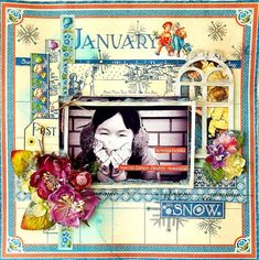 Scrapperlicious: Let It Snow #layout  by Irene Tan using #Clear Scraps stencils and chipboard embellishment