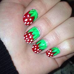 Strawberry nails!   Inspiration for these was a pin (that's in my board called Nail Envy). I don't know if it's the original version of these nails but it's the one I went off of.