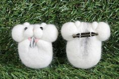 Hamster from Pocket! Brooch 【Djangarian / White】 | Wool felt | Yuto | Handmade mail order / sale Creema