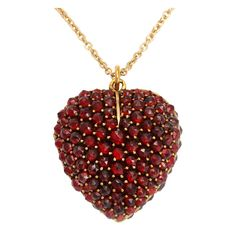 Victorian Garnet Heart Locket Pendant | From a unique collection of vintage drop necklaces at http://www.1stdibs.com/jewelry/necklaces/drop-necklaces/