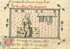 Avarice  Roman de la Rose (British Library Yates Thompson 21, fol. 4), c. 1380 (bb- Six panel construction, ironwork, comfortable seat height)