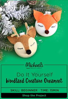 transform your christmas tree into a woodland forest add these handcrafted woodland creature ornaments to - Michaels Outdoor Christmas Decorations