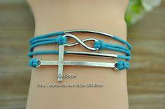 Infinity bracelet Wish cross bracelet Blue wax rope by GiftShow, $2.99 Fashion handmade bracelet,Christmas gifts