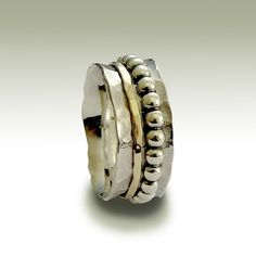 Sterling silver hammered band with silver and gold by artisanlook, $140.00