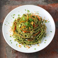 Edamame Spaghetti with Kale Cilantro Pesto, Carrot, Coconut, Ginger #GlutenFree #LowCarb #Tasty
