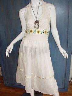 aa80a15c989 Vtg 70s Cotton CROCHET MEXICAN WEDDING Embroidered SUNFLOWER Floral HALTER  Dress  Unbranded  BridalFormal Vintage