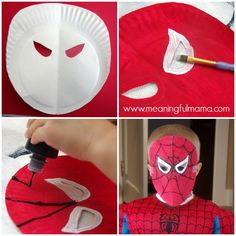 Spiderman Paper Plate Mask Tutorial and Template