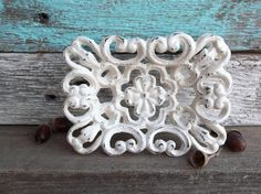 Shabby Chic Iron AntiqueWhite Dish Rustic by Thepinkpicketfence
