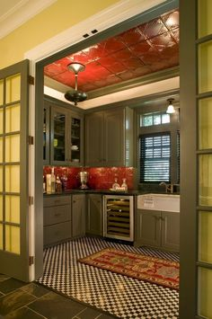 tin-ceiling tiles and backsplash in red kitchen decoration and design ideas