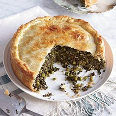 Make-Ahead Spinach and Grape Leaf Pie - This savory tart, stuffed with greens and eggs, is a great dish for a brunch buffet or a weekend of entertaining. Spinach Pie, Creamed Spinach, Spinach Recipes, Pie Recipes, Veggie Recipes, Vegetarian Recipes, Cooking Recipes, Spinach Salads, Spinach Casserole