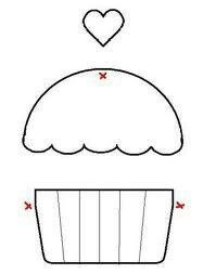 Applique Cupcake Template - maybe for birthdays Felt Crafts, Fabric Crafts, Sewing Crafts, Sewing Projects, Template Cupcake, Crown Template, Cupcake Card, Heart Template, Flower Template