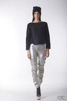Crepe Black Collar silver leggings and fluffy cotton top with high-tech fabric insertions. Check out the online shop for details. Silver Leggings, Fall Winter 2014, White Jeans, Normcore, Tech, Pullover, Fabric, Cotton, Pants