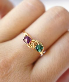 Golden Peacock Wire-Wrapped SWAROVSKI Crystal Ring