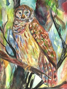 """""""Sunset Owl""""   Watercolor  August 27, 2012"""