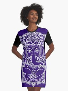 Glowing Flower Graphic T-Shirt Dress White and blue glowing flower mandala. An intricate pattern of a flower, bold and bright on a black background Ganesh, Glowing Flowers, Flower Graphic, Flower Mandala, Ultra Violet, Blue Flowers, Shirt Dress, T Shirt, Vintage Designs