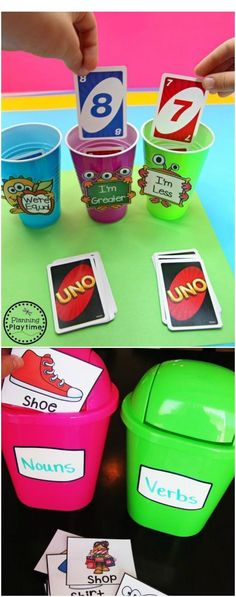 #sponsored Great way to make your math and reading stations hands on these two ideas. you can compare numbers, you could also do this with place value, and the reading you can use anything: nouns, verbs, prepositions, etc. Great way to provide classroom management during stations. Affilink please re-pin if you like this! Save, click, and follow there is no charge unless you buy, however, I receive a small commission for each click I use to support my 1 year old.